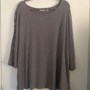 Susan Graver Liquid Knit 3/4 Rouched Sleeve Top